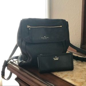 Kate Spade leather backpack and wallet